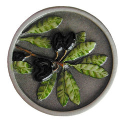 """Inviting Home - Olive Branch Knobs (hand-tinted pewter) - Hand-cast Olive Branch Knob in hand-tinted pewter finish 1-1/4"""" diameter Product Specification: Made in the USA. Fine-art foundry hand-pours and hand finished hardware knobs and pulls using Old World methods. Lifetime guaranteed against flaws in craftsmanship. Exceptional clarity of details and depth of relief. All knobs and pulls are hand cast from solid fine pewter or solid bronze. The term antique refers to special methods of treating metal so there is contrast between relief and recessed areas. Knobs and Pulls are lacquered to protect the finish. Alternate finishes are available."""