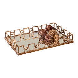 Grace Feyock - Grace Feyock Nicoline Decorative Tray X-21991 - Forged iron with brass patina accented by a reinforced mirror interior.