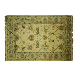 Manhattan Rugs - New Floral Design Ivory Oushak Veg Dyed 4'x6' HandKnotted Wool Turkish Rug H5608 - Oushak rugs originated in the small town of Oushak in west central Anatolia, roughly 100 miles south of the city of Istanbul in Turkey. Oushak has produced some of the most decorative Persian influenced rugs of all times. Oushak has been a production center of Turkish rugs since the 15th century. In the late 15th century the 'design revolution' took place. Before, producing carpets was part of the nomad culture, meeting people's daily needs, but for the first time the works of designing and weaving rugs were split in two. These Turkish rugs began to be produced commercially. From the 16th up to the 18th century the most famous manufacturers of ottoman times worked in Oushak. A special heirloom wash produces the subtle color variations that give rugs their distinctive antique look.