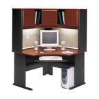 """BBF - Bush Series A 48"""" Corner Computer Desk with Hutch in Hansen Cherry - Bush - Office Sets - WC90466APKG2 -    Bush Series A Hansen Cherry Corner Hutch (included quantity: 1) The Bush Series A Corner Hutch is a grand addition to the Bush Series A Corner Desk. Turning your workspace into a private tower of efficiency, this generous corner hutch features a wide variety of storage styles to suit your needs.  Features:"""