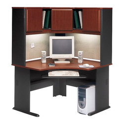"BBF - Bush Series A 48"" Corner Computer Desk with Hutch in Hansen Cherry - Bush - Office Sets - WC90466APKG2 -    Bush Series A Hansen Cherry Corner Hutch (included quantity: 1) The Bush Series A Corner Hutch is a grand addition to the Bush Series A Corner Desk. Turning your workspace into a private tower of efficiency, this generous corner hutch features a wide variety of storage styles to suit your needs.  Features:"