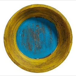 """Colored Wooden Bowl, Red with Yellow/Blue Interior - These cheerful bowls are hand painted, then lightly distressed to reveal hints of the natural mango wood underneath. Use them to create a unique wall display that's both eye-catching and textural. 14.5"""" diameter, 4"""" thick Made of hand-carved mango wood. Hand-painted finish. Internet only."""