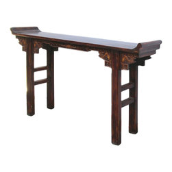 Golden Lotus - Chinese Crane Motif Wood Altar Console Table - This is an old restored altar table with oriental crane bird carving motif on both sides of apron.