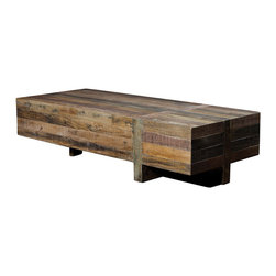 Angora Coffee Table - Elegant, Refined and Reclaimed. The trestle-style Angora Coffee Table is handmade from reclaimed solid old phone poles, old boats and shipping pallets. Angora exposes the knots and natural imperfections that make each unique and  subtly one of a kind.