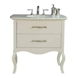 """Stufurhome - 37"""" Elizabeth Single Sink Vanity With Italian Carrara Marble Top - Infuse warmth and elegance into your guest or master bath with the diminutive 37"""" Elizabeth Single Sink Vanity. The cream finish and Italian marble top harmonize beautifully with the vanity""""s graceful curves to lend delicate refinement to your d_cor. A simple drawer, adorned with gleaming steel hardware, provide generous storage for all of your bathroom necessities. A matching mirror makes this gorgeous set complete."""