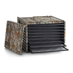 "Excalibur - Excalibur Deluxe Camouflage Food Dehydrator with 26-Hour Timer, 9 Trays - Complete drying system in rear. (includes thermostat and fan) Easy to clean... Spills fall on seamless bottom. Horizontal drying provides even drying, eliminating tray rotations. Fast drying... Adjustable thermostat allows perfect drying every time. Square design increases drying area ""25%"" with no holes in center of tray. Versatile... Trays can be removed to expand drying chamber. Controlled environment for a wide variety of uses, i.e. making fruit roll-ups, trail mixes and drying flower arrangements, herbs, art and crafts, photos.Ideal for volume drying Removable door and trays - do not have to be taken apart to check drying or add more food. Almost unbreakable and FDA approved polycarbonate trays. Inserts make cleaning a snap. Controlled environment for a wide variety of uses. Recipe book included with each unit Adjustable Thermostat 85 - 155 degrees. For faster drying, and best overall versatility, the following temperatures are recommended: herbs 95F, cakedecorations 100F, flowers 110F, yogurt 115F, vegetables 125F, fruit 135F, jerky, plaster of Paris, curing epoxies and clay 145F. Note: Those following the concepts of raw and living foods can set their thermostat to 105F with assurance the food will not reach the enzyme destruction temperature of 120F. 26-hour Timer. Set the dehydrator to run for 1 to 26 hours. The unit will automatically shut-off after set time is complete. Includes the Book ""Preserve It Naturally"". This is the latest edition with a new chapter on raw and living foods and more recipes. Chapters on fruits, vegetables, meats, fish, herbs, nuts, grains, dairy products, crafts, cake decorating, potpourri, sachets, macrame beads, dough art, wreaths, raw and living foods and much more. Recipes for raw foods, hot/cold appetizers, soups, salads, main/side dishes, sauces, beverages, desserts, snacks, trail mixes, breads and more. 194 pages Net weight: 18 lbs Includes: Preserve It Naturally recipe book, instruction manual. 10-Year manufacturer's warranty on home use. Made in THE USA."