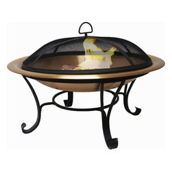 Canyon Creek Copper Fire Pit - Create a gathering spot for your family and friends in your backyard with a quality copper fire pit. Available in your choice of a 30, 35 or 40 inch genuine copper bowl this sturdy model holds larger logs for a bigger fire. Hand crafted from .65mm to .7mm heavy-gauge copper the 4-5 inch deep bowls rest on a sturdy steel frame with an elegant powder-coated finish. Each fire pit also features a removable screen for containing flying embers and a heavy-gauge log grate to ensure proper airflow for wood burning. Enhance your outdoor experience with the beauty and warmth of one the Wolf Creek copper fire pits.