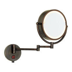Contemporary Oil Rubbed Bronze Swing Arm Plug-In Lighted Vanity Mirror