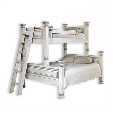 Liz Ann's Interior Design Boutique - The Lisette twin over queen bunk bed has the same beautiful designed with raised panel detail as the original Lisette bunk bed.  It is made with the highest quality of construction and will bring a custom look to any bedroom.  Choose from a large selection of gorgeous finishes.  Shown in Antique White.  *More than one finish color and custom sizes are available at an additional charge.  Overall Dimensions: 68Wx84Hx91L.