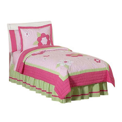 Sweet Jojo Designs - Pink and Green Flower Bedding Set Full/Queen (3-Piece) - The Flower Pink and Green Bedding Set by Sweet Jojo Designs will help you create an incredible room for your child. This set is in full bloom with real flower power! Your girl will adore these crisp petals in the perfect pink and green color combination with 100% cotton fabrics. Embroidery and appliques of detailed flowers decorate this beautiful set for a timeless designer look that is perfect for any girls room. This set comes in Twin and Queen sizes. The Twin bedding set is a 4-piece set that comes with a comforter, pillow sham, bed skirt, and window valance. The Queen bedding set is a 3-piece set that comes with a comforter and 2 pillow shams.