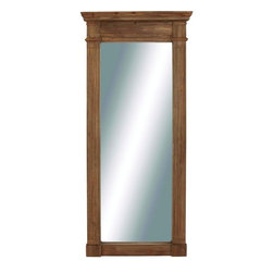"""Benzara - Puning Square Shaped Wooden Wall Mirror - Tired of seeing the same old wall mirror every day? Want something new that is not only stylish but will also add glamour to your home? Then wait no more, here's a wall mirror that is just designed for you. Made from wood, this brown colored with natural wood finish framed mirror is shaped in clean cut square shape and features intricate detailing on the panel and is designed in shape of a door panel. Place this stylish mirror on any wall and admire yourself and this lovely mirror. The white frame is assured to make it stand out from the rest.This wall mirror is easy to use and long lasting. Your guests and visitors will be in awe at the sight of this unique wall mirror and you can also wrap it up and present it to your family and friends. Gifting or buying for yourself, this unique wall mirror is a must have. This Wooden wall mirror measures 36 (W) x 4 inch (L) x 80 inch (H); Crafted from wood; Square shaped design with detailing on the top frame; Dimensions: 39""""L x 2""""W x 71""""H"""