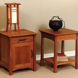 SHINTO NIGHT STANDS - East meets West with this Asian style arts and crafts solid hardwood bedroom collection.
