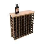 "Wine Racks America - Tasting Table Wine Rack Kit with Butcher Block Top in Redwood, Oak Stain + Satin - The quintessential wine cellar bar; this wooden wine rack is a perfect way to create discrete wine storage in shallow areas. INCLUDES a 35"" Butcher Block Top that helps you create an intimate tasting table. We build this rack to our industry leading standards and your satisfaction is guaranteed."