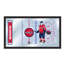 "Holland Bar Stool - Holland Bar Stool Washington Capitals Hockey Rink Mirror - Washington Capitals Hockey Rink Mirror belongs to NHL Collection by Holland Bar Stool The perfect way to show your team pride, our hockey rink mirror displays your team's symbols with a style that fits any setting.  With it's simple but elegant design, colors burst through the 1/8"" thick glass and are highlighted by the mirrored accents.  Framed with a black, 1 1/4 wrapped wood frame with saw tooth hangers, this 15""(H) x 26""(W) mirror is ideal for your office, garage, or any room of the house.  Whether purchasing as a gift for a recent grad, sports superfan, or for yourself, you can take satisfaction knowing you're buying a mirror that is proudly Made in the USA by Holland Bar Stool Company, Holland, MI.   Mirror (1)"
