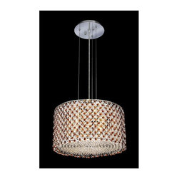 Elegant Lighting - Moda Topaz Crystal Chandelier w 5 Lights in Chrome (Royal Cut) - Choose Crystal: Royal Cut. 6 ft. Chain/Wire Included. Bulbs not included. Crystal Color: Topaz (Brown). Chrome finish. Number of Bulbs: 5. Bulb Type: GU10. Bulb Wattage: 55. Max Wattage: 275. Voltage: 110V-125V. Assembly required. Meets UL & ULC Standards: Yes. 18 in. D x 11 in. H (25lbs.)Description of Crystal trim:Royal Cut, a combination of high quality lead free machine cut and machine polished crystals & full-lead machined-cut crystals..SPECTRA Swarovski, this breed of crystal offers maximum optical quality and radiance. Machined cut and polished, a Swarovski technician¢s strict production demands are applied to this lead free, high quality crystal.Strass Swarovski is an exercise in technical perfection, Swarovski ELEMENTS crystal meets all standards of perfection. It is original, flawless and brilliant, possessing lead oxide in excess of 39%. Made in Austria, each facet is perfectly cut and polished by machine to maintain optical purity and consistency. An invisible coating is applied at the end of the process to make the crystal easier to clean. While available in clear it can be specially ordered in a variety of colors.Not all trims are available on all models.
