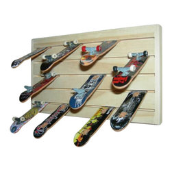 Teck Deck Rack- Tech Deck Finger Board Skateboards Wall Rack Shelf, Single - Store up to 45 Teck Deck Finger Board Skateboards on this rack. There are hooks on the back for easy wall mounting but it can also sit on a table or desk. It is 9-1/2 inches long and 5-1/2 inches high.