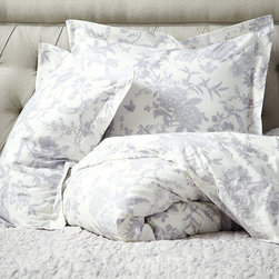 Ballard Designs - Jardin Toile Duvet Cover - Lavender King - Layers well with Jardin Toile Quilt & Sham and Audree Pom Pom Quilt & Sham.. 200 thread count, 100% cotton percale. Knife-edge. Machine washable. With our Jardin Toile Bedding, you can sleep in a lush garden blooming with one of our favorite motifs. The hand finished Duvet Cover is in a dreamy 200 thread count cotton percale with an all over toile in soft, dreamy color printed on an ivory base. Hidden button closure. Jardin Toile Duvet Cover features: . . . .