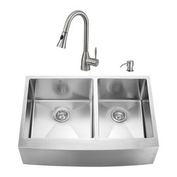 """VIGO Industries - VIGO All in One 33-inch Farmhouse Stainless Steel Double Bowl Kitchen Sink and F - Modernize the look of your entire kitchen with a VIGO All in One Kitchen Set featuring a 33"""" Farmhouse - Apron Front sink, faucet, soap dispenser, two matching bottom grids and two strainers."""