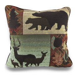 Zeckos - Earthtone Call of The Wild Decorative Tapestry Throw Pillow 17 in. - An amazing addition to homes with an outdoorsy theme, this decorative throw pillow will add a lovely lodge style accent anywhere inside your home featuring a tapestry front of wild standing deer and bear silhouttes accented by a leafy image and a pine tree silhouette. The cover is made from 65% cotton and 35% polyester with a 100% cotton solid brown backing, and is filled with 100% polyester. The pillow measures 17 inches by 17 inches (43 x 43 cm), and would look amazing tossed on the couch, in your favorite chair or highlighting your bed. It is recommended to spot or dry clean only. It's a wonderful housewarming gift idea any nature enthusiast is sure to admire!