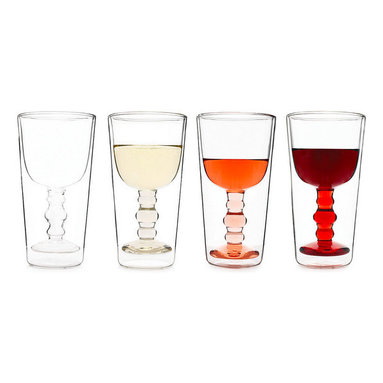 Inova Team -Modern Illusion Glass - Set of 4 - Bewitching and clever, these modern glasses will give any beverage an unexpected twist of whimsy. Combining inventive design with delightful execution, the wine goblet fills entirely with liquid and seems to float within the surrounding glass, which remains empty.
