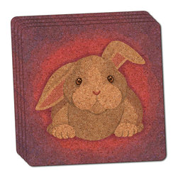 """Made on Terra - Bunny Rabbit Thin Cork Coaster Set of 4 - You're just cleaning up after your epic party when you realize it... something's different. Unlike all those other times, you're not mopping up cup condensation from your counters and tables. This time, everyone used a coaster. Everyone. Maybe it's because you handed out a coaster with every glass. No. You've tried that before. No, this time it's because of the actual coasters. You found the cutest Made On Terra printed cork coasters. You love that everyone commented on how unique they were,  from the light-weight, thin cork material to the printing that creates a cool and subtle effect. Plus, they're really absorbent, but dry quickly. And they're made from an eco-friendly, sustainable resource, so that makes you feel pretty great, too. Choose from Made on Terra's many fabulous cork coasters. Measures 4"""" x 4"""" x 1/8"""". Made of thin cork. Super cute and nicely absorbent. Sold in sets of four."""