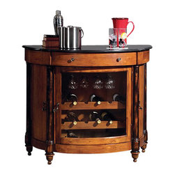 Howard Miller - Howard Miller Merlot Valley Wine and Spirits Console Home Bar - Howard Miller - Home Bars - 695016 - This contemporary wine and spirits console has a midtown stately appeal to it that can be easily incorporated into nearly any upscale dining area. Primarily distinguished by its full-width curvature glass panel cabinet door and classy black granite tabletop the Merlot Valley also features four detail-carved hardwood legs to strengthen its sophisticated appeal. An interior wine rack solidly retains up to 18 bottles and a glass stemware rack and single pull drawer add to the Merlot Valley Wine and Spirits Console's functional appeal. A Vintage Umber and Worn Black finish is a fitting final touch in ensuring the charm of this well-appointed piece.