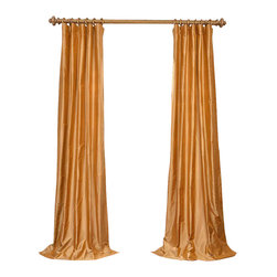 """Exclusive Fabrics & Furnishings - Baroque Gold Dupioni Silk Curtain - SOLD PER PANEL . 100% Silk .Lined . 3"""" Pole Pocket with Hook Belt .Dry Clean Only ."""