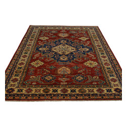 5'x7' Oriental Rug 100 Percent Wool Red Super Kazak Hand Knotted Sh18780 - Our Tribal & Geometric hand knotted rug collection, consists of classic rugs woven with geometric patterns based on traditional tribal motifs. You will find Kazak rugs and flat-woven Kilims with centuries-old classic Turkish, Persian, Caucasian and Armenian patterns. The collection also includes the antique, finely-woven Serapi Heriz, the Mamluk Afghan, and the traditional village Persian rug.