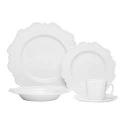 Red Vanilla - Red Vanilla Pinpoint White 20-piece Dinnerware Set - This Red Vanilla Pinpoint White 20-piece dinnerware set adds an elegant look to any setting . These basic white dishes have a scalloped edge with white-beaded border that will frame your culinary masterpieces rather than overpower them.