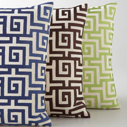 """Horchow - Greek Key Accent Pillow - We love the classic and chic appeal of D.L. Rhein's Greek key embroidered accent pillow—sure to charm any decor. Select color when ordering. Made of linen with zipper closure; feather/down insert. Dry clean. 16""""Sq. Imported."""