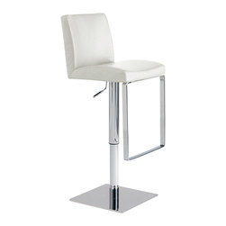 Nuevo Living - Matteo Adjustable Stool, White, Set of 2 - This beautiful bar stool has it all. It comes wrapped in rich, sumptuous leather, with a comfortably curved padded back and seat cushion. That covers the cool contemporary look and comfort you're after. Now for the bells and whistles: It has full 360-degree swivel and height adjustability so that you can use it just about anywhere.