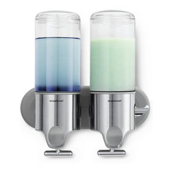 simplehuman - Twin Wall-Mount Pumps - Banish bottle clutter in the bath with wall-mount pumps that put your everyday necessities within easy reach. The ergonomic T-bar lever allows for precise, one-handed dispensing — and the hooks keep accessories handy.