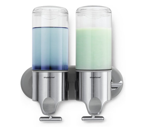 simplehuman - Twin Wall Mount Pumps, 15 Fl. Oz. - Banish bottle clutter in the bath with wall-mount pumps that put your everyday necessities within easy reach. The ergonomic T-bar lever allows for precise, one-handed dispensing — and the hooks keep accessories handy.