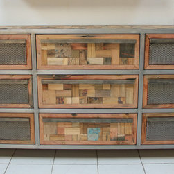 9 Drawer Boat Wood Dresser Cabinet / Buffet / Sideboard - A large 9 drawer dresser made from salvaged / reclaimed boat wood.  6 drawers have modern industrial punched steel fronts. This furniture has a rustic / modern / industrial look and is very well made.