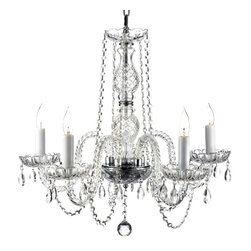"The Gallery - CHANDELIER DRESSED W/SWAROVSKI CRYSTAL! H25"" X W24"" SWAG PLUG IN-CHANDELIER W... - The height of elegance. This beautiful Venetian style chandelier comes with its own swag kit, giving you 14 feet of chain and wire so you can adjust the height according to your table and ceiling dimensions."