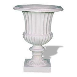 Amedeo Design, LLC - USA - Classic Ribbed Urn - Our Classic Ribbed Urn is a traditional urn for any garden or outdoor display. We also produce them in 2 halves; a variation you can use for tighter spaces. Though they look like ancient European & Mediterranean designs in carved stone, our products are made of lightweight weatherproof ResinStone. So authentic, you actually have to lift these planters to convince yourself they're not stone at all! Made in USA.