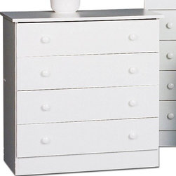 Prepac - 4 Drawer Chest - The Casual Bedroom Collections' chests of drawers, dressers and nightstands provide value packed, affordable, well-made and well-priced storage for the practical minded consumer. Low prices don't mean we cut corners on quality. The drawers run very smoothly on nylon glides with built-in safety stops and can be easily removed for cleaning or moving. With basic designs combined with durable (5/8'' thick) engineered wood components, quality hardware and solid design are the trademarks of the Casual Bedroom Collection. Ideal for any bedroom, this 4- drawer chest comes in three finishes to match individual tastes and d cor. The sides, top, drawer fronts and kickers are made from 5/8'' thick laminated composite board. The drawer components are a High Density Fiberboard (MDF) and slide smoothly on nylon glides with built-in safety stops. Features: -Four drawers.-Smooth running nylon drawer glides with safety drawer stops.-Easy lift-out drawers for cleaning & moving.-Quality hardware included.-Durable 5/8'' composite board, screw, dowel & cam lock construction.-Precision engineered for quick & easy home assembly.-Frame Material: Composite Woods.-Solid Wood Construction: No.-Powder Coated Finish: No.-Gloss Finish: No.-Non Toxic: Yes.-Scratch Resistant: No.-Storage Function: Clothing.-Drawers Included: Yes -Number of Drawers: 4.-Drawer Interior Finish: Unfinished.-Drawer Glide Material: Plastic.-Soft Close or Self Close Drawer Glides: No.-Safety Stop: Yes.-Ball Bearing Glides: No.-Drawer Dividers: No.-Felt Lined Drawers: No.-Drawer Handle Design: Knobs..-Exterior Shelves: No.-Clothing Hooks Included: No.-Clothing Rod Included: No.-Cabinets Included: No.-Hidden Storage: No.-Interchangeable Panels: No.-Mirror Included: No.-Hutch Included: No.-Finished Back: No.-Distressed: No.-Collection: Casual Bedroom.-Swatch Available: No.-Commercial Use: Yes.-Country of Manufacture: Canada.-Recycled Content: No.-Eco-Friendly: Yes.-Product Care: Wipe clean with damp