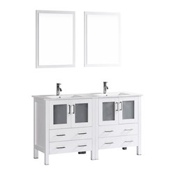 "Bosconi - 60"" Bosconi AB230U Double Vanity, White - Indulge the aesthetic principal with this stunning and spacious 60"" glossy white Bosconi double vanity set. The integrated ceramic sinks and perfectly coordinating mirrors lend to a polished and efficient design. Features include two spacious cabinets with soft closing doors, as well as, two large pull out drawers. Plenty of space to accommodate towels, toiletries and bathroom accessories."