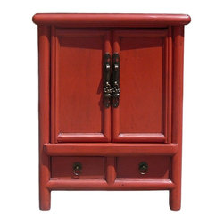 Golden Lotus - Red Lacquer Chinese Hardware End Table Nighstand - This is a modern end table nightstand with oriental accent and rustic red color lacquer surface.