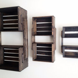 Brown Wooden Crate Wall Hanging Shelf Units by CL Decor, Set of 3 - For unique, rustic charm, check out these wooden crate shelves in an espresso brown finish. They come in various sizes and mount right to the wall.