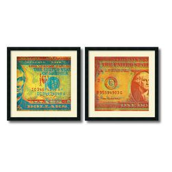 Amanti Art - Dustin Chambers 'Five Bucks, One Buck- set of 2' Framed Art Print 26 x 26-inch E - Give your decor a money minded update with this Five Bucks, One Buck set of cunningly cropped and colored bills by Dustin Chambers.