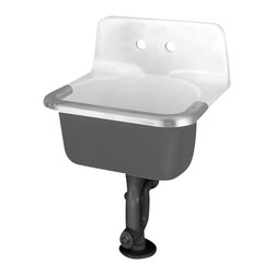 "American Standard - Akron Enameled Cast Iron 24"" Wall Hung Service Sink with Two Holes and Rim - American Standard 7695.008.020 Akron Enameled Cast Iron 24"" Wall Hung Service Sink with Two Holes and Rim Guard in White. American Standard - Style that works better. Durable, reliable, quality engineering and construction. American Standard products are designed for your busy lifestyle. Parts, hardware, and components are engineered to enhance the usage of your American Standard products.American Standard 7695.008.020 Akron Enameled Cast Iron 24"" Wall Hung Service Sink with Two Holes and Rim Guard in White, Features:Enameled cast iron material"