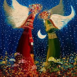 overstockArt.com - Kopania - Angels - Angels is a beautiful image of a fantasy motif made originally as oil painting on canvas by Justyna Kopania. Enjoy the beauty and color of this painting reproduced as a fine canvas print. Justyna Kopania is from Warszawa, Poland. In her words when she paints she tries to show the 'world', which could be seen by looking at reality that surrounds us, from another perspective, unusual, remote, sometimes through the eyes of the child, sometimes music, composer, or someone who looks lichen on the sea, the moon , the sky and the stars ..., the river ... looks out the window and looks out into the street. Walking down the street looking at people's faces. In rain, snow or fog. Perhaps the world that surrounds us really is quite different than we perceive it every day.