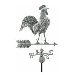 "G.D. - Good Directions 27"" Rooster Weather Vane, Blue Verde Copper - Proudly puffing out his broad chest, this rooster is ready to crow - day and night - over the rooftop of your house, barn, garage, or cupola. Our Good Directions' artisans use Old World techniques to handcraft this fully functional, standard-size weathervane that's unsurpassed in style, quality and durability. A great gift for folk art enthusiasts!"