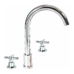 Renovators Supply - Faucets Chrome Cross Handle 8'' Wspread | 17380 - Andrea 8 inch Widespread Faucet. Swiveling spout for kitchen or bathroom. You will not find a better faucet for this price! Measures 11 7/16 inch H x 8 inch projection x 8 inch spout to counter.