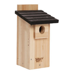 Nature's Way - Nature's Way Cedar Bluebird Viewing House - Nature's Way cedar bluebird viewing house includes a side viewing window to watch hatchlings while protecting them. Featuring excellent ventilation,predator guards and fledgling skerfs,this cedar house will last for years to come.