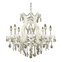 """PWG Lighting / Lighting By Pecaso - Karla 9-Light 26"""" Crystal Chandelier 2380D26WH-GT-RC - Karla was an Empress from 1740 to 1780 in the waning days of the Baroque period. The Baroque love of embellishment is highlighted in the elaborate crystal swags and drops that fully dress these fixtures in a look that is pure luxury. From the gold or chrome finish to the fully lavish crystal dressing, this Karla collection represents opulent sophistication."""