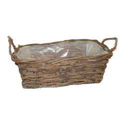 "McCann Brothers Small Vine Basket Window Box Planter - McCann Brothers Small Vine Basket Window Box Planter Lined with plastic and reinforced with wire. Pefect for dressing up your favorite plants and flowers creating gift baskets for small storage and more. Top inside Length: 14.0"" Bottom inside length: 12.0"" Top inside width: 7.5"" Bottom insidewidth: 5.5"" Height: 5.75"""