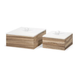 """IMAX - Mochrie Lidded Boxes - Set of 2 - A modern mix of wood tones and a white finish, this set of two Mochrie lidded boxes make a great accent to any home or office. Item Dimensions: (3.75-4.25""""h x 6-8""""w x 6-8"""")"""