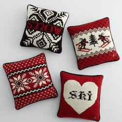 Garnet Hill - Nordic Knit Wool Pillow Cover - Modern Nordic motifs on pillow covers knit from pure wool mimic the look and feel of a favorite ski sweater. Rendered in bold hues of red, black, and ivory, these pillow covers add a graphic punch to any room. Accented with a single metal button, like the ones you find on Alpine-style cardigans. Backed with black cotton velvet. Hidden zipper closure. For a fuller look, go up an insert size. Size: 18 in. x 18 in. Pillow insert is sold separately.